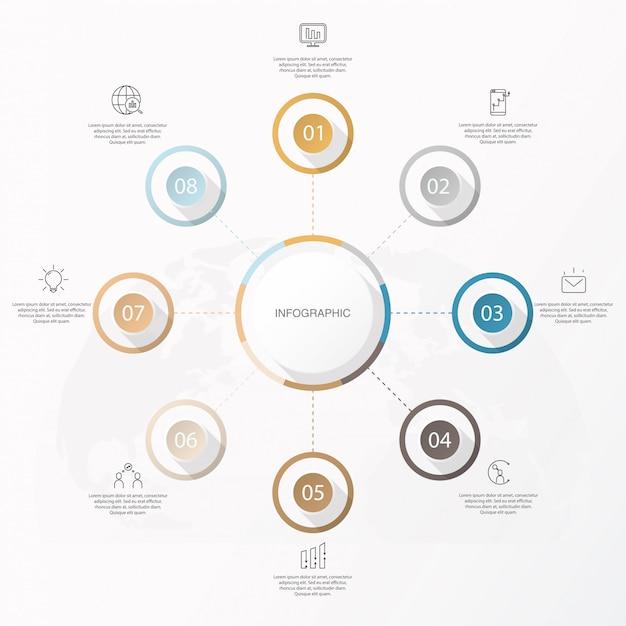 Infografik kreis 8 option oder schritte und symbole. Premium Vektoren
