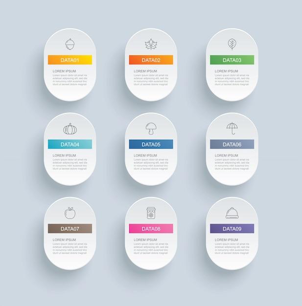 Infografik mit 9 ovalen schritten und abstrakter zeitleistenvorlage. moderner hintergrund des präsentationsschrittgeschäfts. Premium Vektoren
