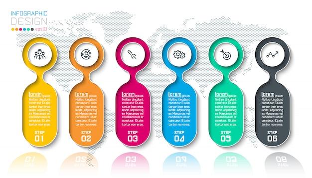 Infografik mit bar-etiketten mit 6 schritten. Premium Vektoren