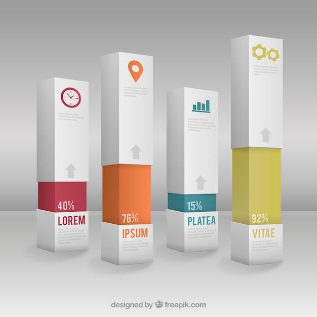 Infografik mit bars vorlage Kostenlosen Vektoren