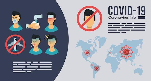 Infografik mit dem corona-virus mit symptomen und präventionsmethoden Premium Vektoren