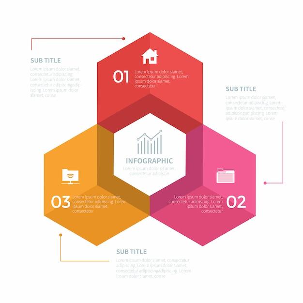 Infografik mit drei schritten Premium Vektoren