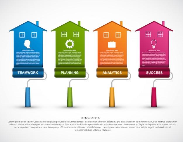 Infografik mit einer walzenbürste. Premium Vektoren