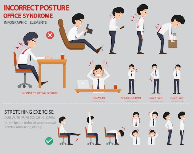 Infografik mit falscher haltung und office-syndrom Premium Vektoren