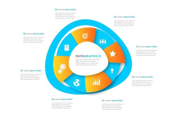 Infografik mit farbverlauf abstrakte form und details Kostenlosen Vektoren