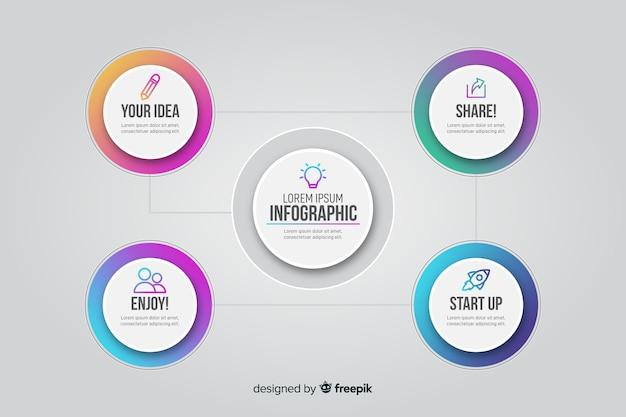 Infografik mit farbverlauf und verbundenen kreisen Kostenlosen Vektoren