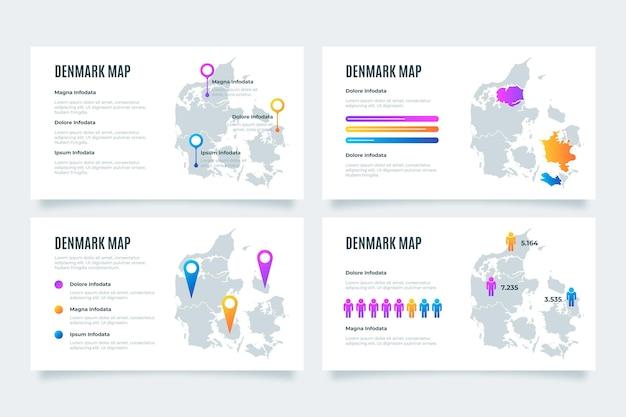 Infografik mit gradienten-dänemark-karte Kostenlosen Vektoren