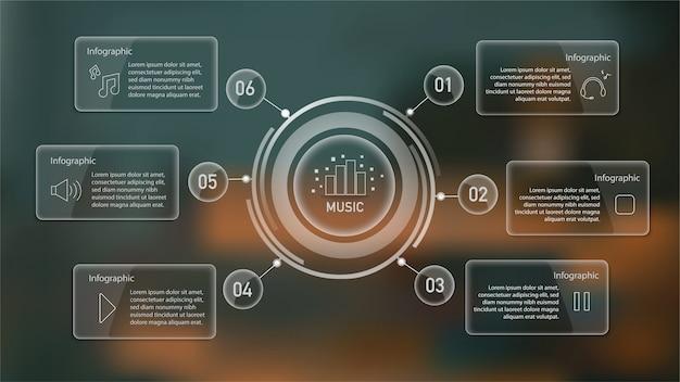 Infografik mit mind map und textfelder auf unscharfe szene Premium Vektoren