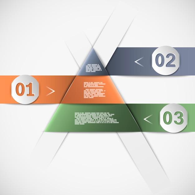 Infografik mit pyramiden- oder dreiecksform, drei optionen mit zahlen und textvorlage Premium Vektoren