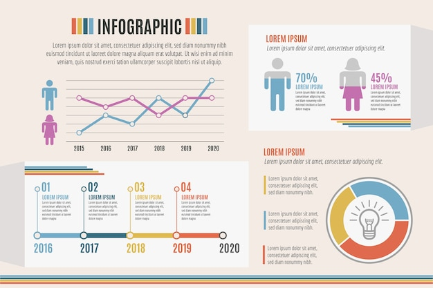 Infografik mit retro-farben thema Kostenlosen Vektoren