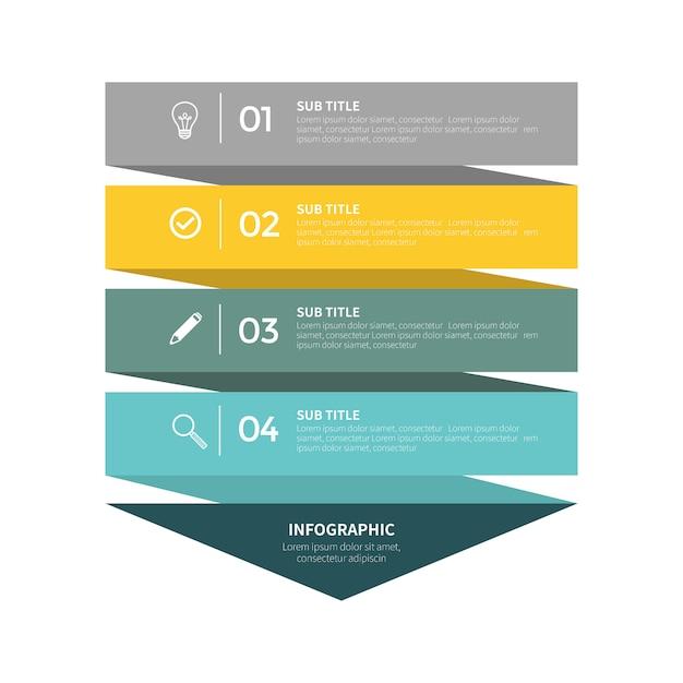 Infografik mit vier schritten Premium Vektoren