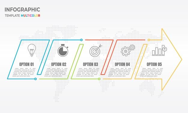 Infografik pfeil dünne linie 5 optionen. Premium Vektoren