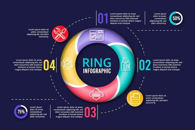 Infografik-sammlung des 3d-rings Kostenlosen Vektoren