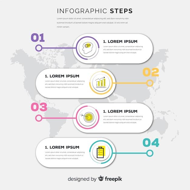 Infografik-schritte-konzept im flachen stil Kostenlosen Vektoren