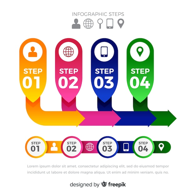 Infografik-schritte-vorlage für flache etiketten Kostenlosen Vektoren