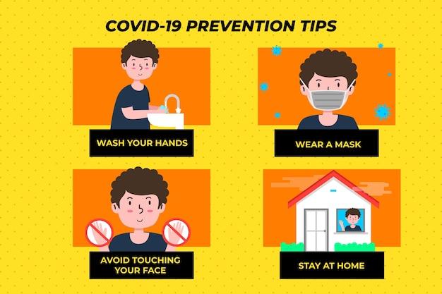 Infografik-set zur coronavirus-prävention Kostenlosen Vektoren