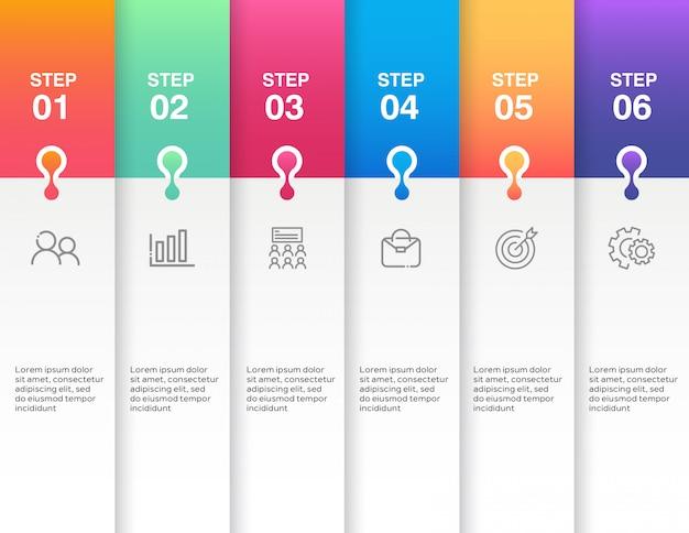 Infografik-template-design mit 6 schritten Premium Vektoren