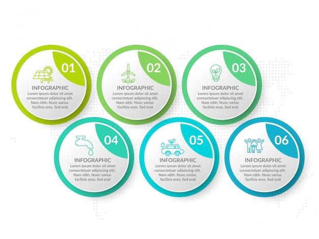 Infografik-template-design mit sechs farboptionen. Premium Vektoren