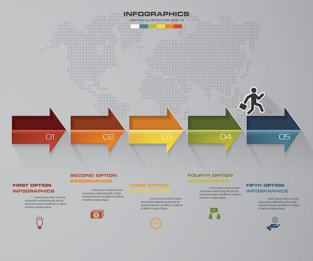 Infografik-timeline mit 5 schritten für ihre präsentation. Premium Vektoren