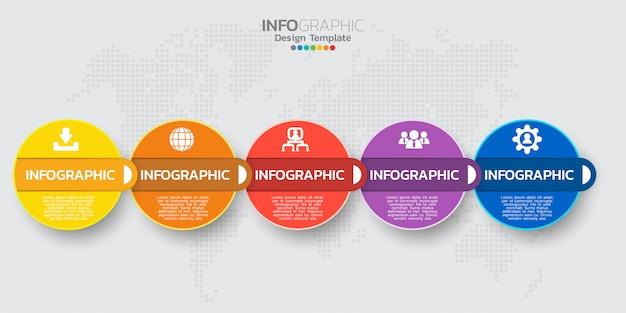Infografik timeline-vorlage mit fünf schritten Premium Vektoren