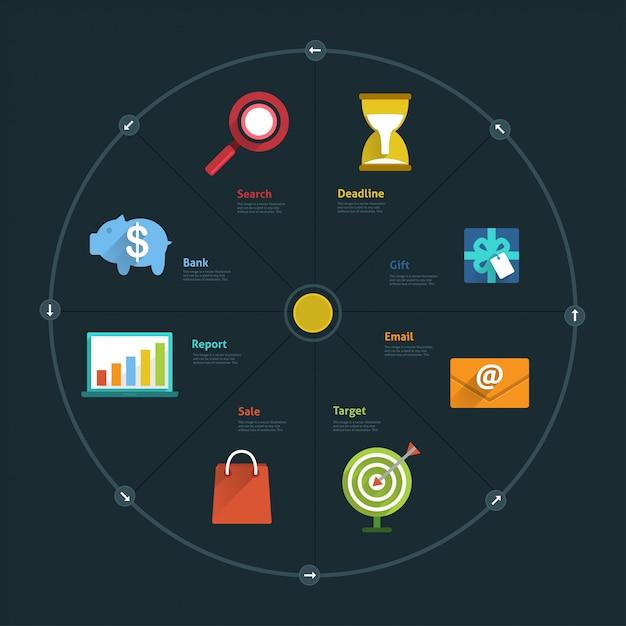 Infografik und symbolelementgeschäft verbinden lebensstil für layout oder diagramm Premium Vektoren