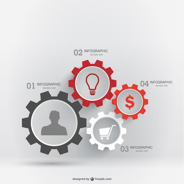 Infografik vektor freies getriebe-vorlage Premium Vektoren