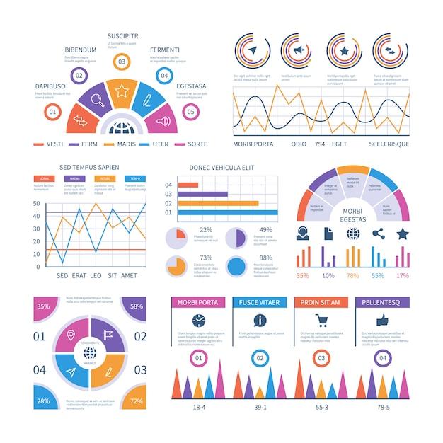 Infografik vorlage. dashboard, balkenfinanzdiagramme, kreisdiagramm und liniendiagramme. analytische vektorinfografiken Premium Vektoren