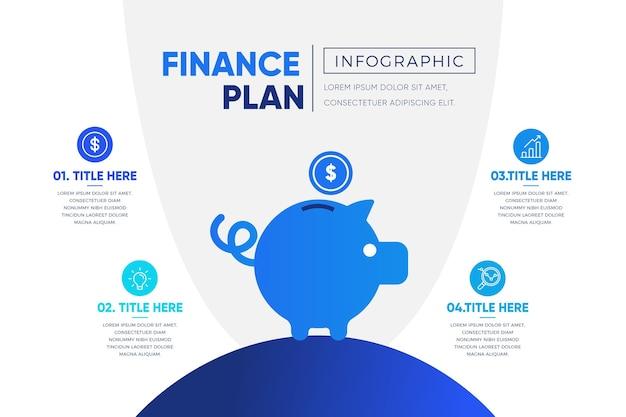 Infografik-vorlage des blauen finanzplans mit farbverlauf Kostenlosen Vektoren