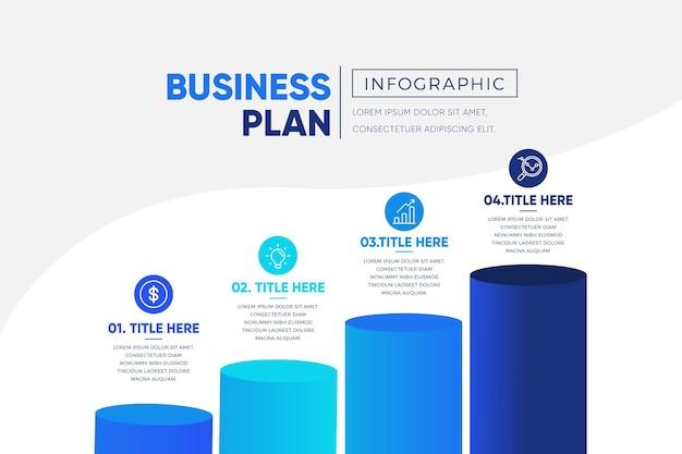 Infografik-vorlage des blauen geschäftsplans mit farbverlauf Kostenlosen Vektoren