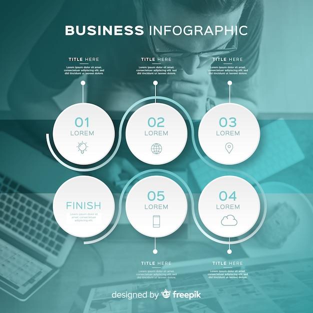 Infografik-vorlage für das geschäft mit foto Kostenlosen Vektoren