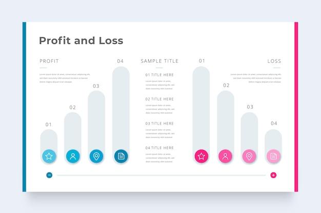 Infografik-vorlage für geschäftsgewinn und -verlust Kostenlosen Vektoren