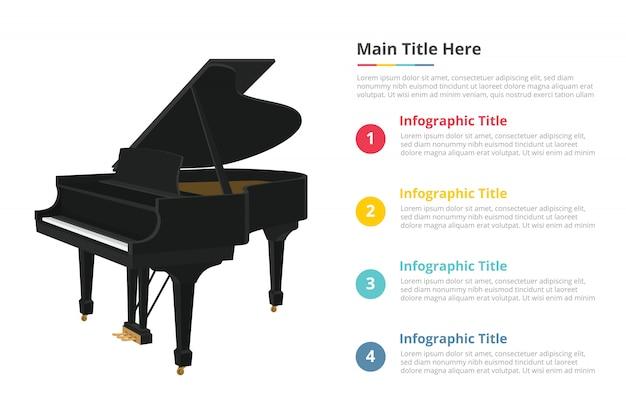 Infografik-vorlage für klavier mit 4 punkten Premium Vektoren