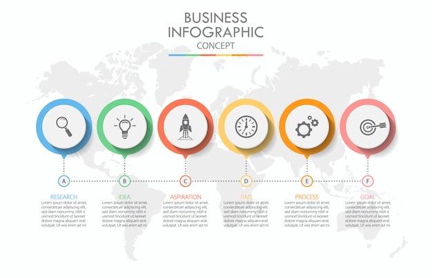 Infografik-vorlage für präsentationsgeschäft mit 6 optionen. Premium Vektoren