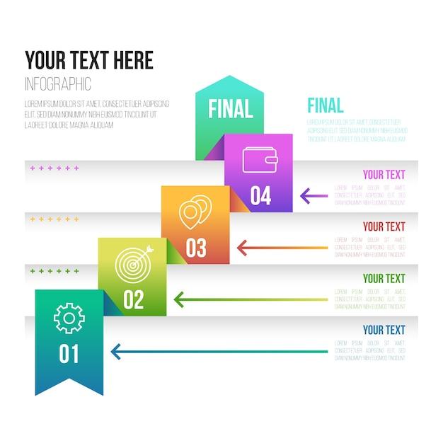 Infografik-vorlage für verlaufsschritte Kostenlosen Vektoren