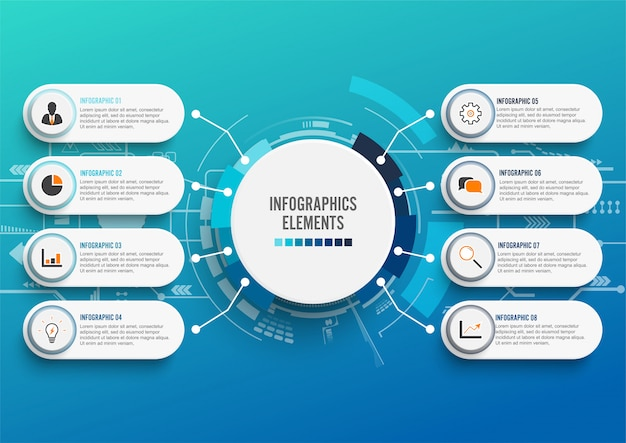 Infografik-vorlage mit 3d-papier, business mit 8 optionen. Premium Vektoren