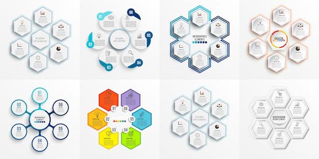 Infografik-vorlage mit 3d-papier festlegen Premium Vektoren