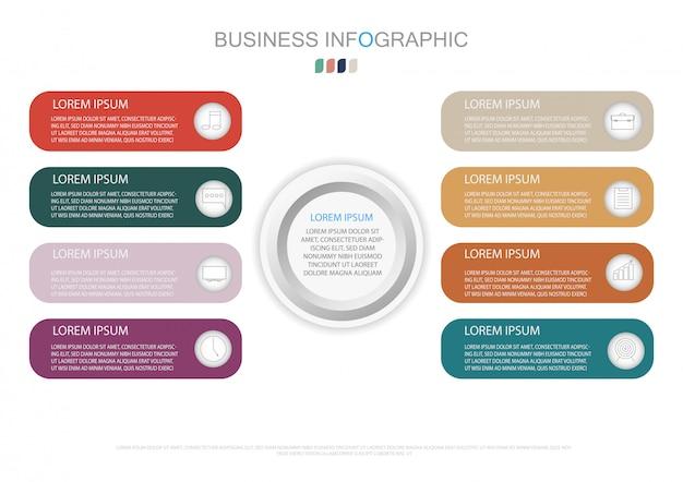 Infografik-vorlage mit 3d-papieretikett und 8 optionen Premium Vektoren