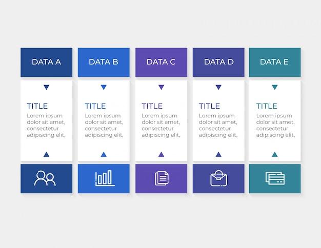 Infografik-vorlage mit 5 optionen daten Premium Vektoren