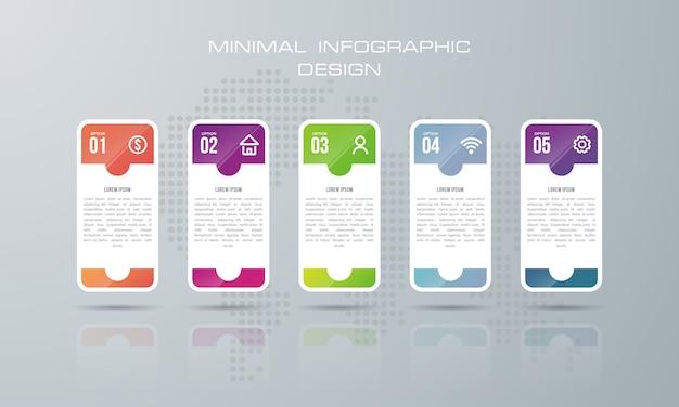 Infografik-vorlage mit 5 optionen, infografiken design vektor kann für workflow-layout verwendet werden, - vektor Premium Vektoren