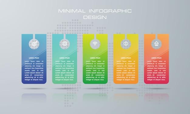 Infografik-vorlage mit 5 optionen, workflow, prozessdiagramm, timeline infografiken design vektor kann für workflow-layout, diagramm, schritte oder prozesse verwendet werden Premium Vektoren