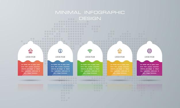 Infografik-vorlage mit 5 optionen Premium Vektoren