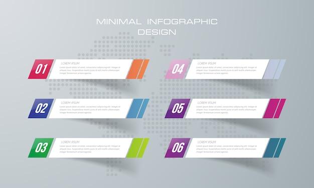 Infografik-vorlage mit 6 optionen, infografiken design vektor kann für workflow-layout verwendet werden, - vektor Premium Vektoren