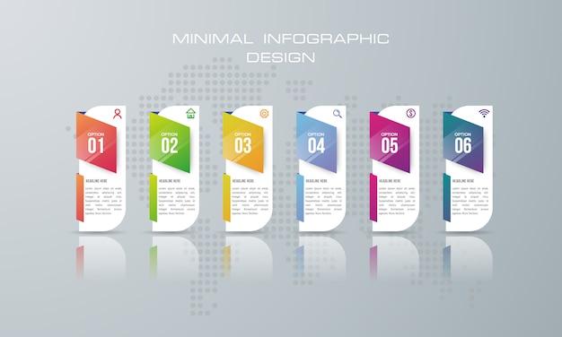 Infografik-vorlage mit 6 optionen, workflow, prozessdiagramm Premium Vektoren