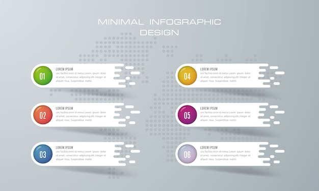 Infografik-vorlage mit 6 optionen Premium Vektoren