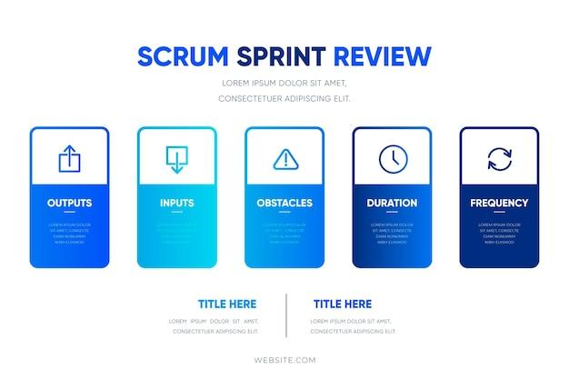 Infografik-vorlage mit blauem scrum-farbverlauf Kostenlosen Vektoren