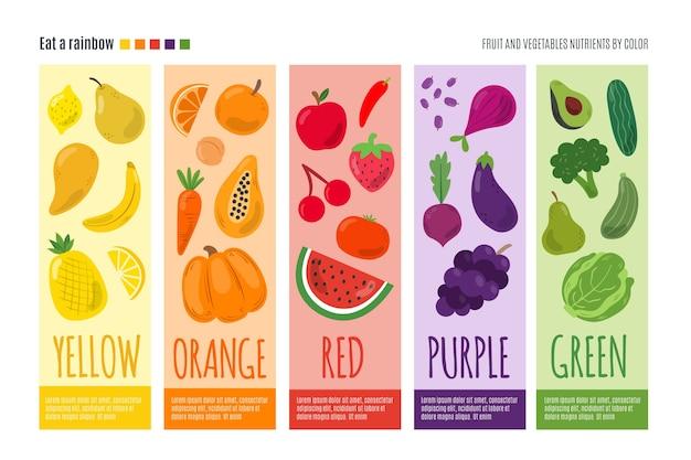 Infografik vorlage mit einem regenbogen essen Premium Vektoren