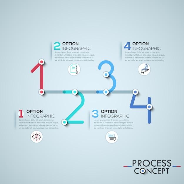Infografik-vorlage mit elementen durch linien in form von vier zahlen verbunden Premium Vektoren