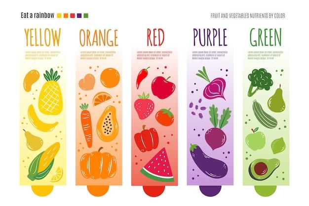 Infografik vorlage mit essen ein regenbogen-konzept Kostenlosen Vektoren
