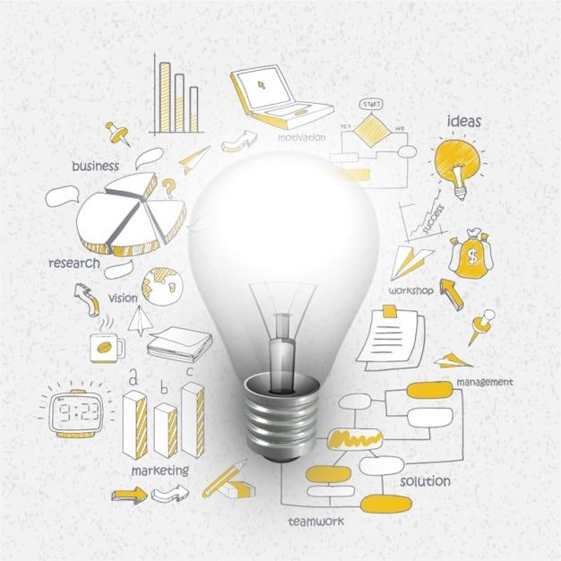 Infografik-vorlage mit glühbirne und charts Premium Vektoren