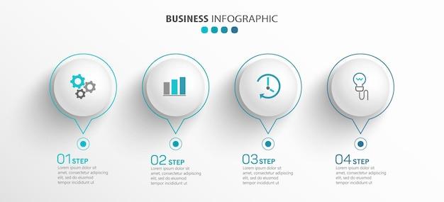 Infografik-vorlage mit symbolen und 4 optionen oder schritten Premium Vektoren